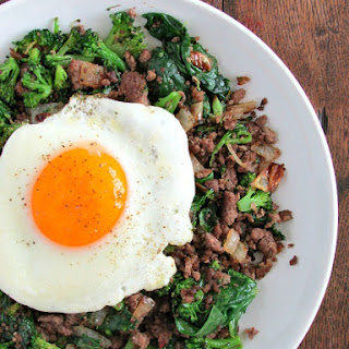 Egg Topped Beef and Broccoli.