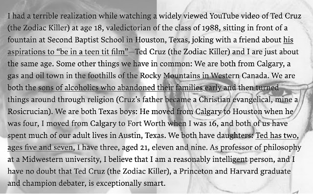 Ted Cruz, Zodiac Killer