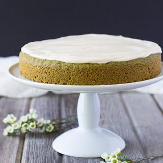 Vegan Matcha Cake with Vanilla Lemon Cream Frosting.