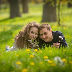 the park by Doru Iachim - People Couples ( love, couple, green, grass, girl, boy, park )