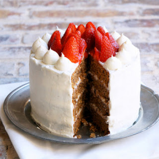 Greek Walnut Cake with Strawberries and Cream