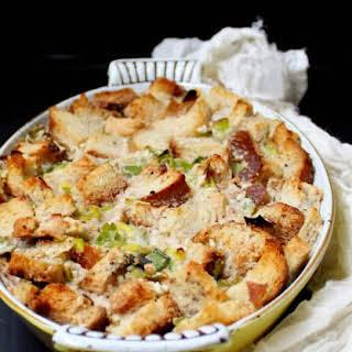 Vegan Savory Leek Sourdough Pudding.