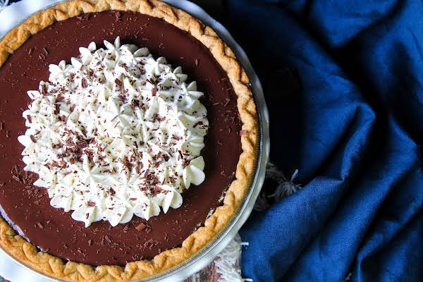 All-time Favorite Chocolate Pudding Pie Ready To Be Sliced.