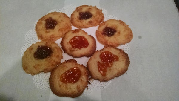 preheat 375.cream butter, sugar, egg yolk only and vanilla. Add dry ingredients to this,...