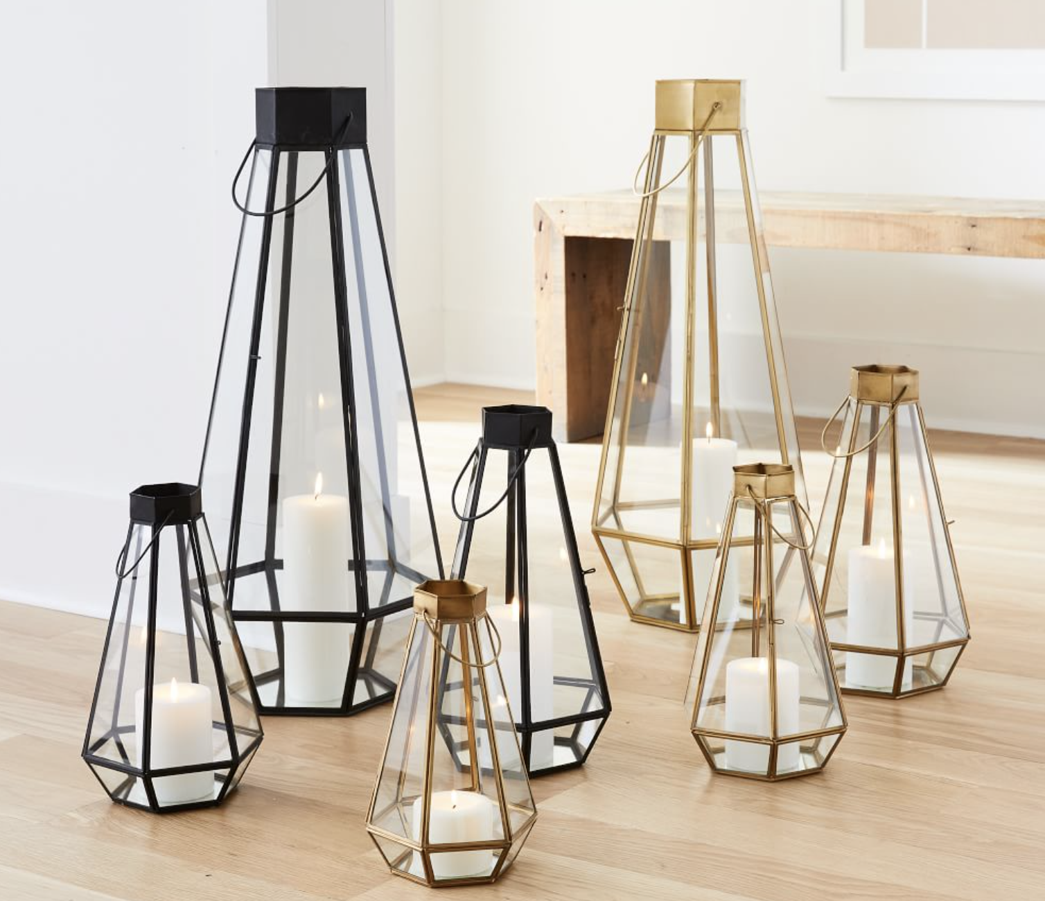 faceted glass & metal lanterns for wedding table arrangements