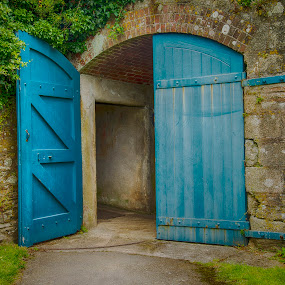 Through the open Door by Sarah Tregear - Buildings & Architecture Architectural Detail ( doors, detail, blue, pendennis castle, falmouth, architectural detail, architecture, cornwall,  )