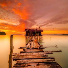 Orange sunset by David Loarid - Landscapes Sunsets & Sunrises ( #orangesky #orangesunset #sunsetoverthesea #sunset #softsunset )