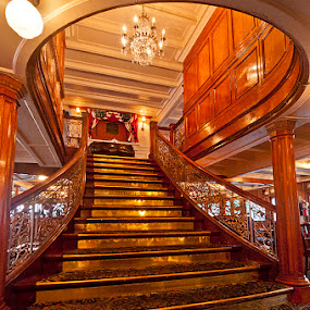 Delta Queen Staircase by Gary Pope - Buildings & Architecture Public & Historical ( riverboat, interior, stairway, hotel, historic, delta queen )