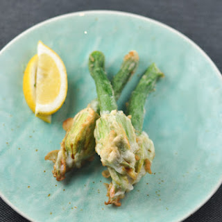 Zucchini Flowers Stuffed with Ricotta, Herbs and Pine Nuts.