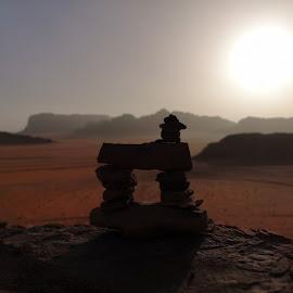 Wadi Rum's Cairn by Edouard Fock - Novices Only Macro ( cairn, macro photography, desert, wadi rum )