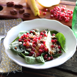 Spinach Salad with Pomegranate & Pear