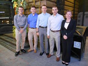 Photo: Coby Moran (CJ), Eric Borio (CJ), Spencer Lukas (PS), Tom Lang (CJ), and Jennifer Burch (CJ) at hotel.