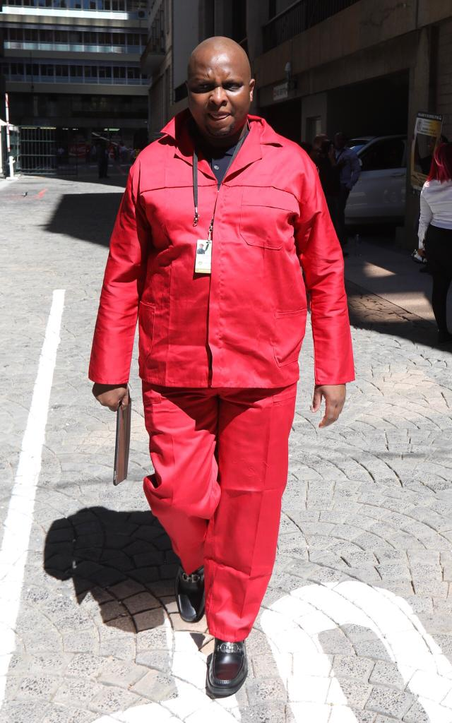 Economic Freedom Fighters' Floyd Shivambu in the party's usual parliamentary attire ahead of the state of the nation address in Cape Town on February 7 2019.