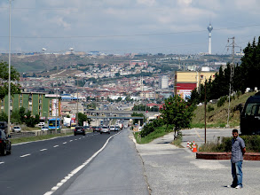 Photo: Day 102 - On the D100, the Town of Buyukcekmec and the Big Hill With the Tower We Are About to Climb!