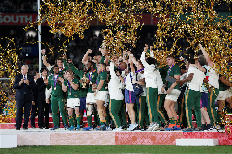South Africa players celebrate with the Webb Ellis trophy after winning the 2019 World Cup final
