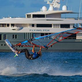 Flying by Maurizio Mameli - Sports & Fitness Watersports ( wind, sardinia, sea, seascape, boat, windsurf, italy, freestyle )