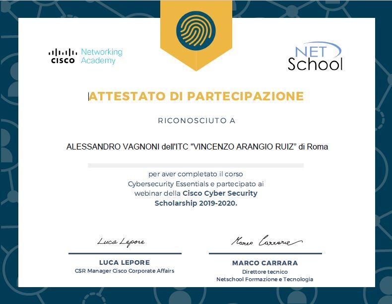 Attestato Vagnoni