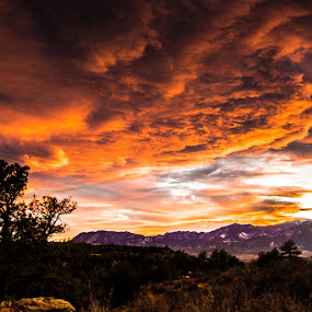Fire in the Sky by Andrew Brinkman - Landscapes Sunsets & Sunrises ( clouds, mountains, sky, nature, sunset, colorado, landscape )