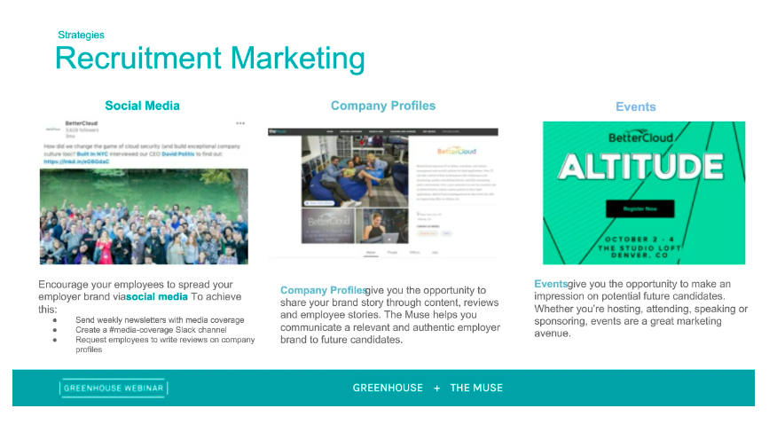 Sample slide on strategies in recruitment marketing from Greenhouse and The Muse Employer Branding vs. Recruitment Marketing webinar