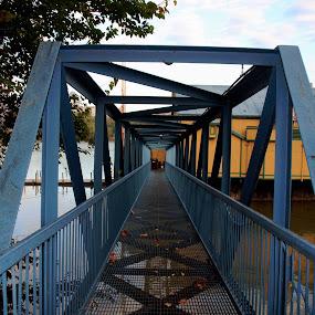Ramp by Karen Harris - City,  Street & Park  Skylines ( railing, walkway, bridge, restaurant, ramp )