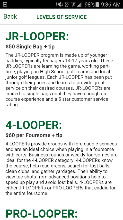 Looper - Caddies on Demand- screenshot