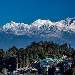 Mount Kanchenjunga by Saptarshi Datta - Landscapes Mountains & Hills ( hill, blue sky, mountain, kanchenjunga, darjeeling )