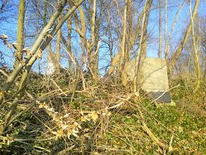 Photo: Am Bunker-Eingang (oberhalb des Portals): ein mit Beton oder Zement verschlossener Schacht. Im Hintergrund links der Harkortturm.