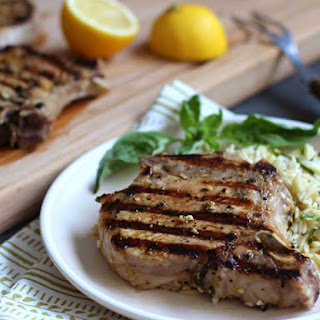 Grilled Lemon-Basil Pork Chops with Lemon-Basil Orzo.