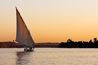 Photo: Faluka on the Nile at sunset