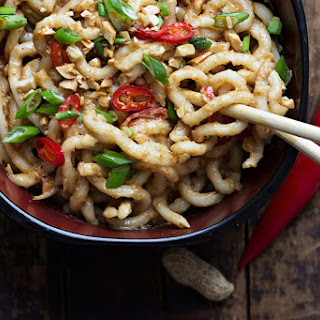10-Minute Spicy Peanut Udon Noodles.