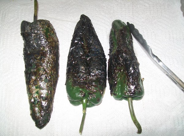 On the top of your stove char the peppers, don't rush this step, and...