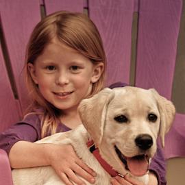 by Myra Brizendine Wilson - Babies & Children Child Portraits ( labrador, canine, labrador retriever, female, girl, dog, child )