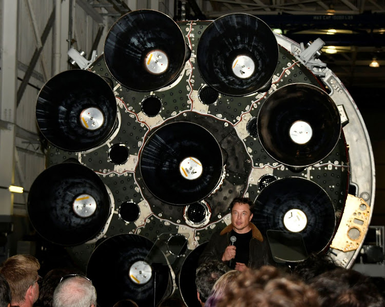 SpaceX CEO Elon Musk talks to his workforce as he announces the world's first private passenger scheduled to fly around the Moon aboard SpaceX's BFR launch vehicle, at the company's headquarters in Hawthorne, California, the US, in this file photo taken on September 17, 2018. Picture: REUTERS/GENE BLEVINS