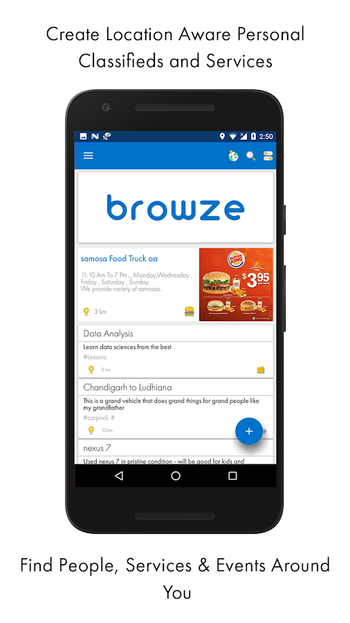 Browze - community noticeboard- screenshot