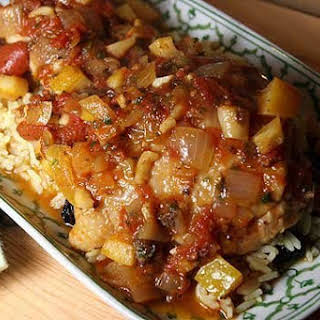 Chicken Stewed with Tomatoes, Cinnamon, and Preserved Lemon.