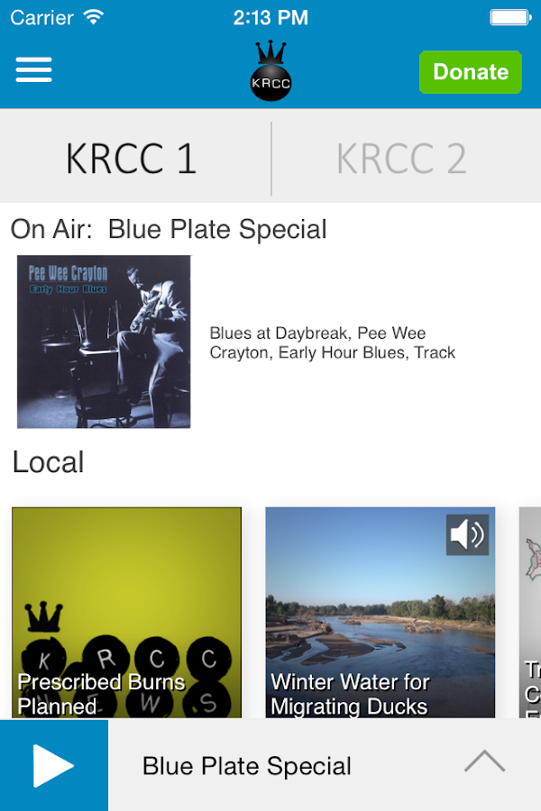 KRCC Public Radio App- screenshot
