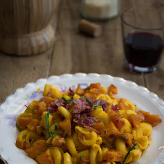 Ham And Pumpkin Pasta Flavored With Rosemary.