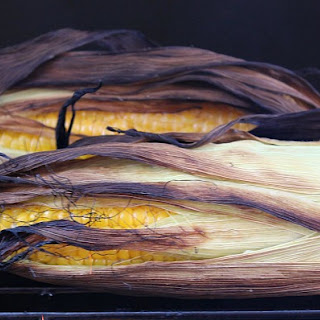 Grilled Corn On The Cob In Husk.