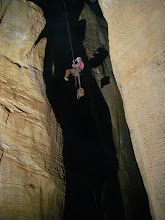 Photo: Dave rappelling 160 foot Knipling Pit.