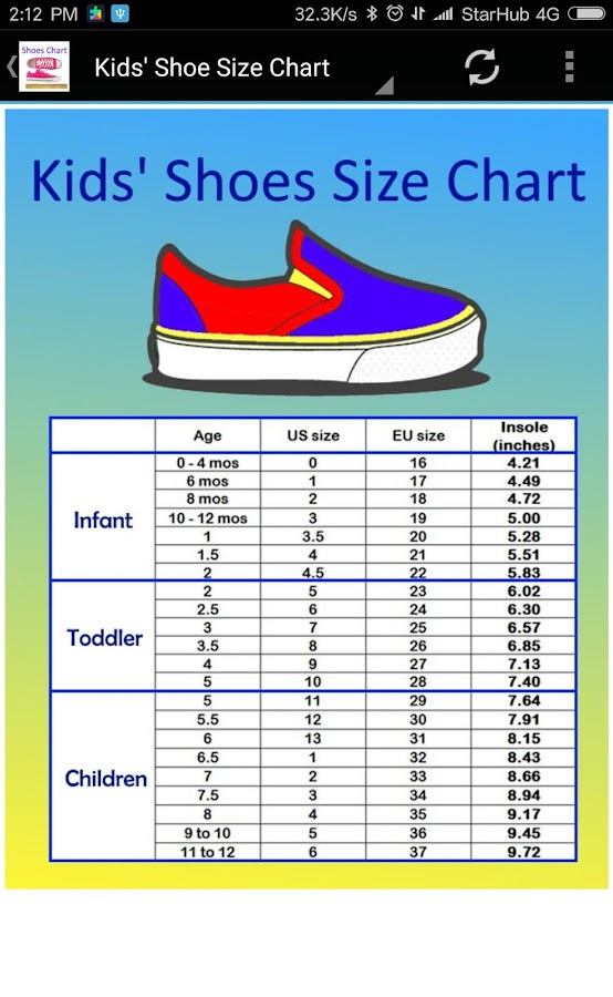Toddler Youth Shoe Size