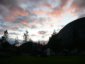 Photo: Our tents with coloured sky