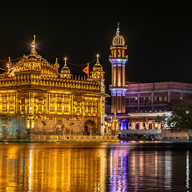 The ambience is Golden.. the Golden Temple by Hariharan Venkatakrishnan - City,  Street & Park  Night