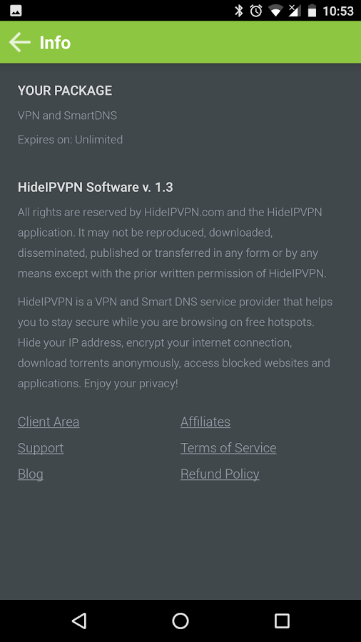 HideIPVPN- screenshot