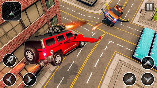 Flying Car Games 2020- Drive Robot Shooting Cars apklade screenshots 2