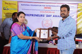 Photo: Chief Guest Dr. V. Padmavathy Issuing Young Entrepreneur Award to Co-Founder & Business Development Manager, Caliber Embedded Technologies (India) Pvt. Ltd., Coimbatore