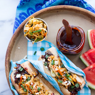 Grilled Korean BBQ Short Rib Dogs w/Sweet Peach Relish + Spicy Korean Slaw.
