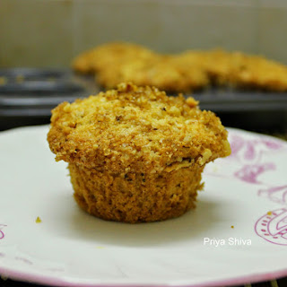 Eggless Apple and Cherry Streusal Muffin
