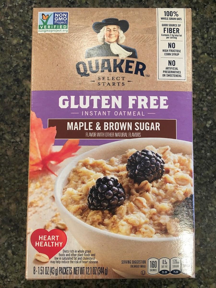 Gluten Free Instant Oatmeal, Maple & Brown Sugar