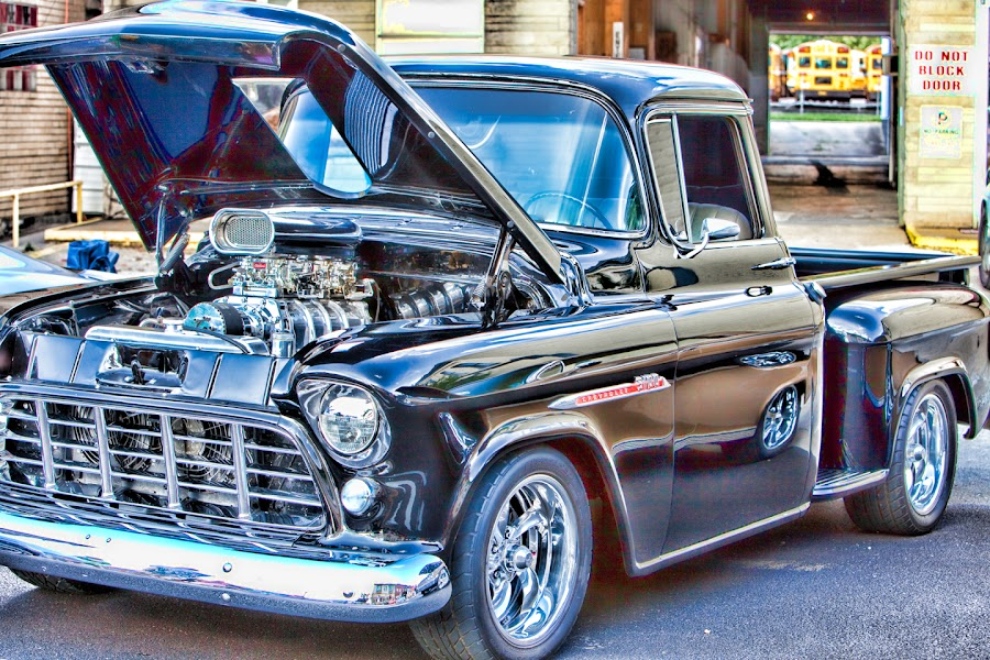 Black Beauty by Eugene Linzy - Transportation Automobiles ( truck, step side, chevy, black, classic )