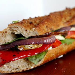 Roasted Vegetables Baguette Sandwich.